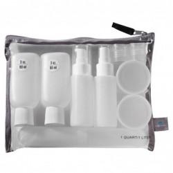 Set de botellas y pastilleros de viaje con bolsa transparente